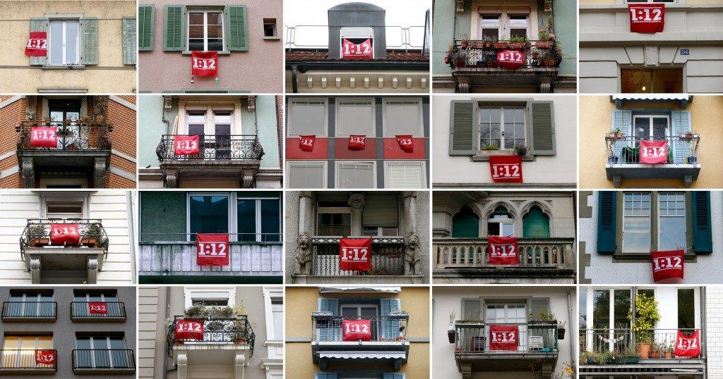 Ratios para visualizar y luchar contra la desigualdad. En la imagen, foto de la campaña suiza 1/12